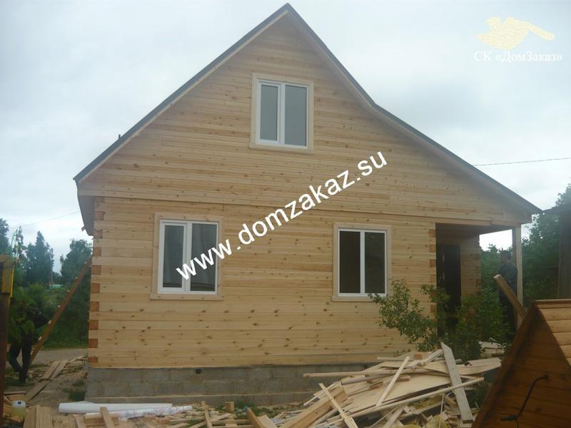 Строительство дома 6х6 м. с террасой и верандой 2х6 м. в Московской области, Солнечногорском районе в июне 2013 года. Цена дома из профилированного бруса